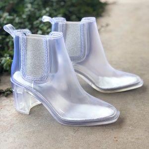 Jeffrey Campbell Hurricane Clear Heeled Rain Boot